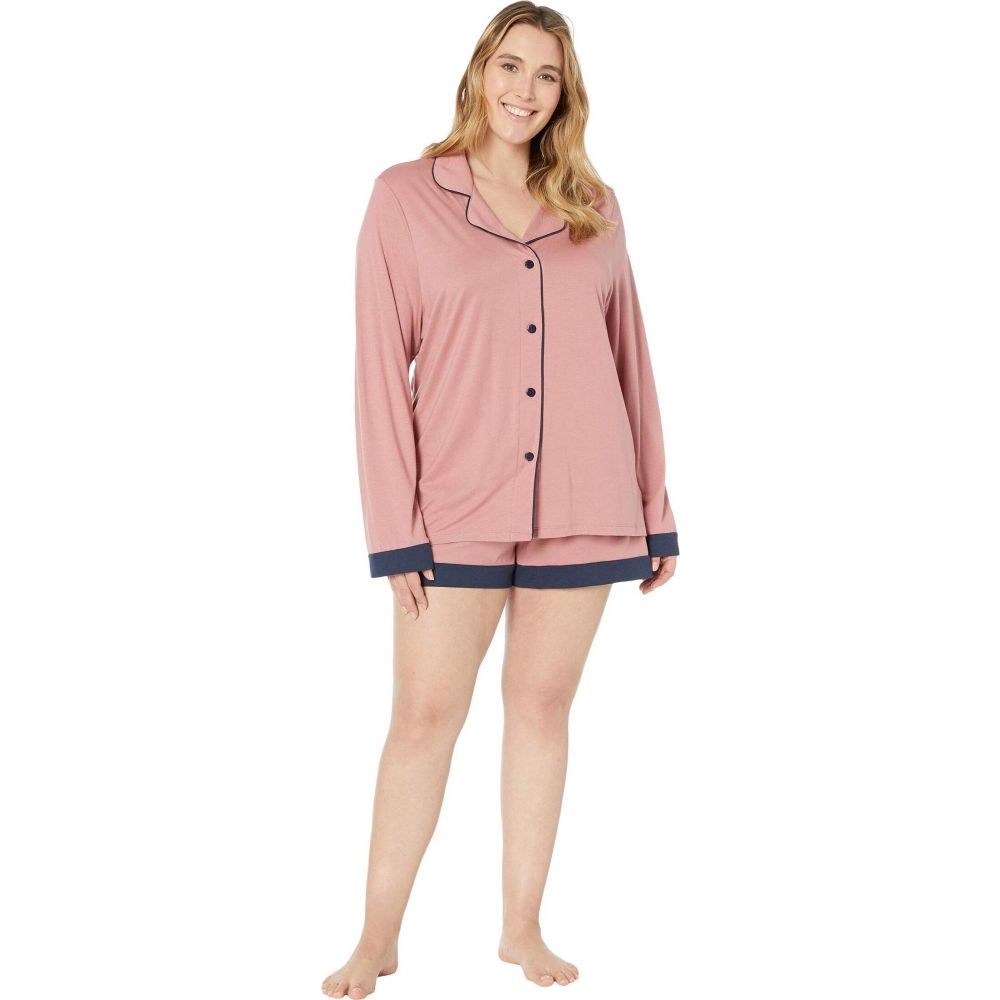 コサベラ Cosabella レディース パジャマ・上下セット 大きいサイズ インナー・下着【Plus Size Bella Long Sleeve Top Boxer PJ Set】Pink Terracotta/Navy Blue