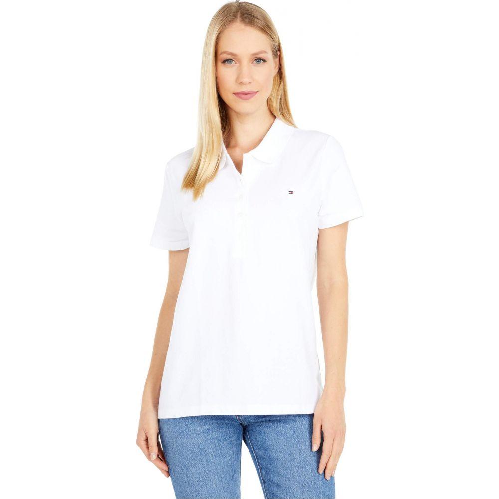 トミー ヒルフィガー レディース トップス ポロシャツ White サイズ交換無料 Polo Hilfiger Sleeve Tommy Solid Short ※アウトレット品 卸直営 半袖