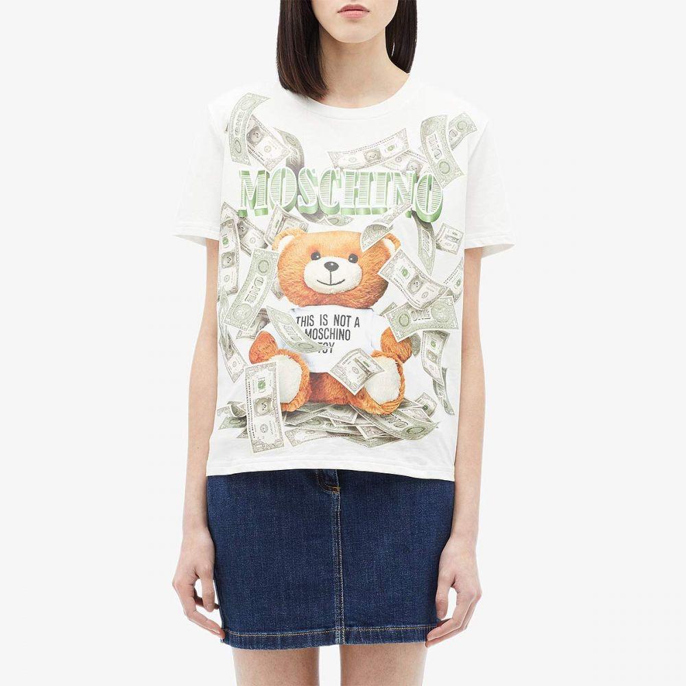 モスキーノ Moschino レディース Tシャツ トップス【Teddy Bear Money T-Shirt】White