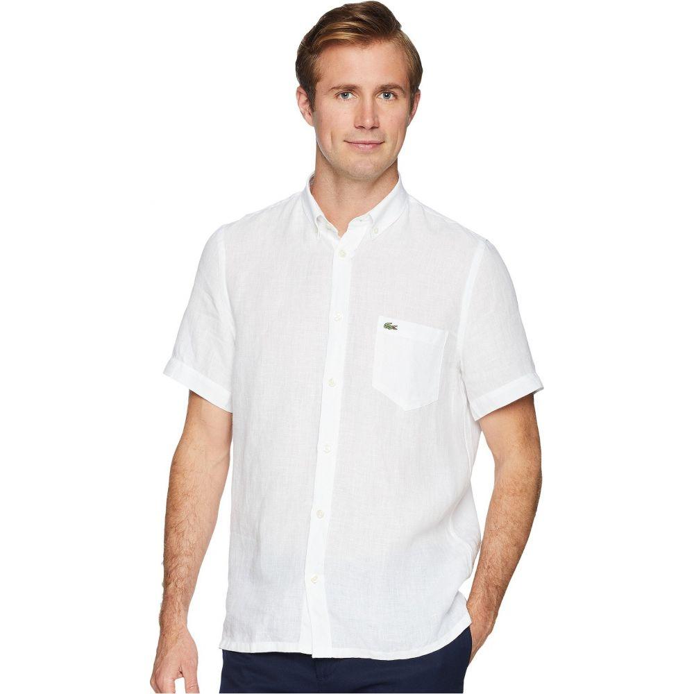 ラコステ Lacoste メンズ 半袖シャツ トップス【Short Sleeve Solid Linen Button Down Collar Regular】White