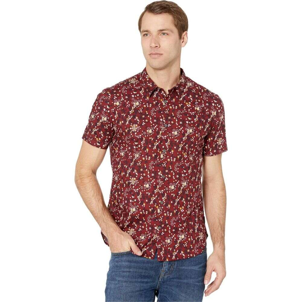 ジョン バルベイトス John Varvatos Star U.S.A. メンズ 半袖シャツ トップス【Jasper Regular Fit Short Sleeve Sport Shirt W508V4B】Crimson