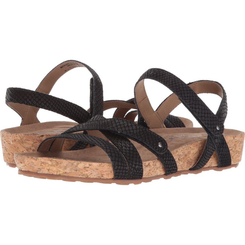 ウォーキング クレードル Walking Cradles レディース サンダル・ミュール シューズ・靴【Pool】Black Matte Snake Print/Cork Wrap