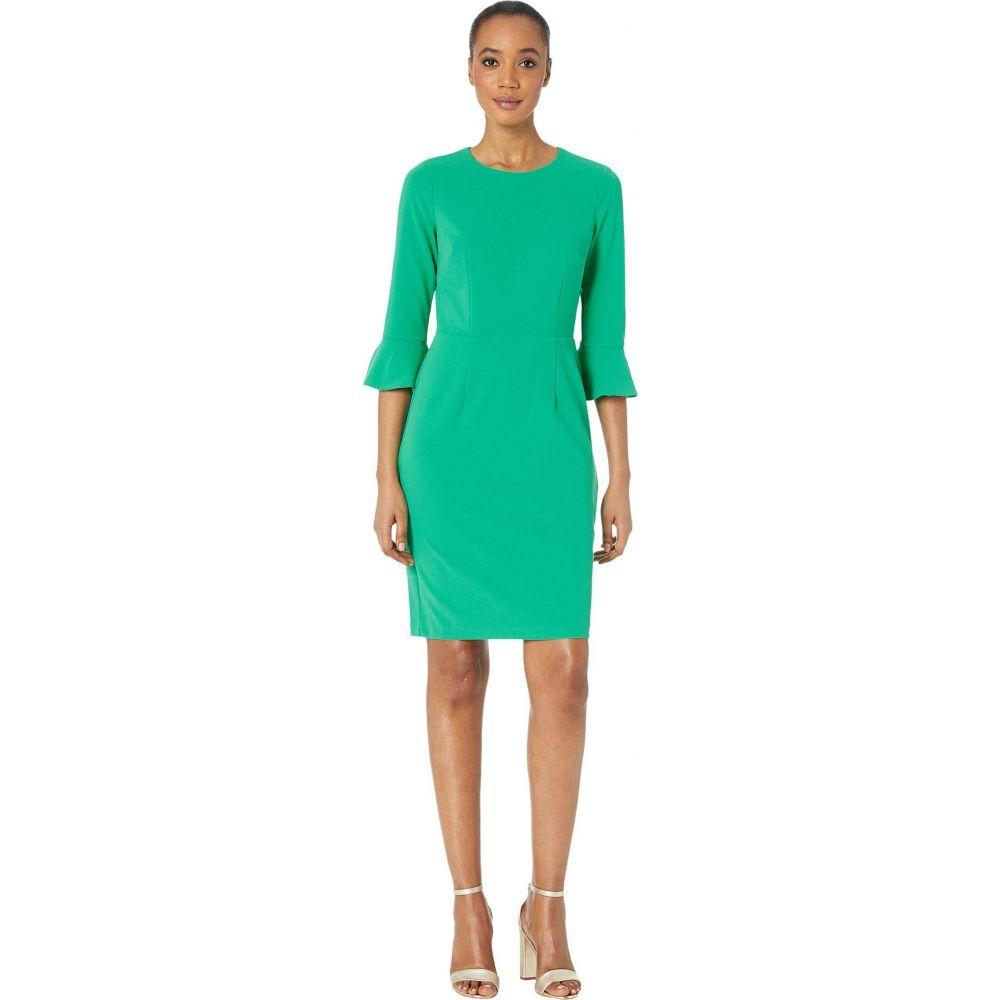 ドナ モルガン Donna Morgan レディース ワンピース 七分袖 ワンピース・ドレス【3/4 Sleeve Crepe Sheath Dress with Bell Sleeve】Bright Jade