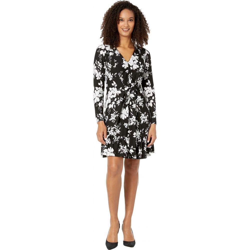 マイケル コース MICHAEL Michael Kors レディース ワンピース ワンピース・ドレス【Tropical Bib Long Sleeve Dress】Black/White