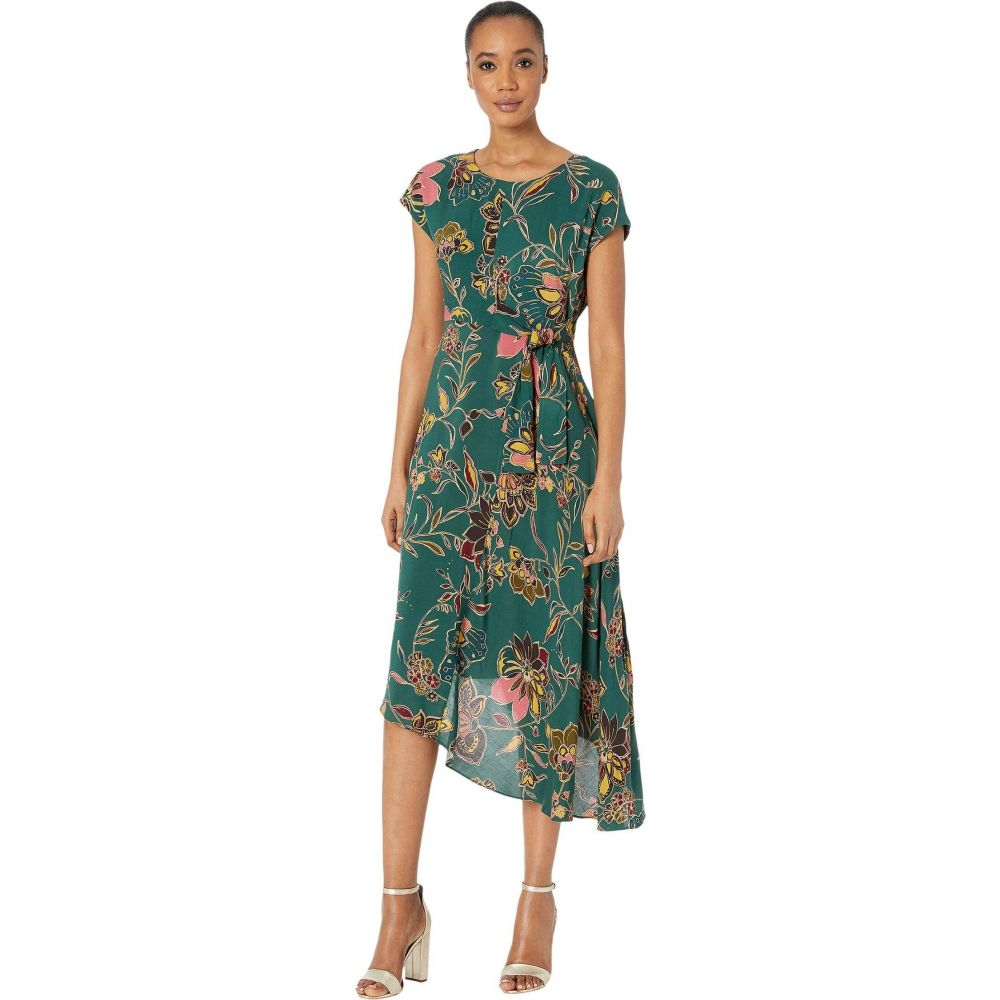 ドナ モルガン Donna Morgan レディース ワンピース ワンピース・ドレス【Short Sleeve Rayon Dress with Self Tie and Asymmetric Hem】Emerald Green