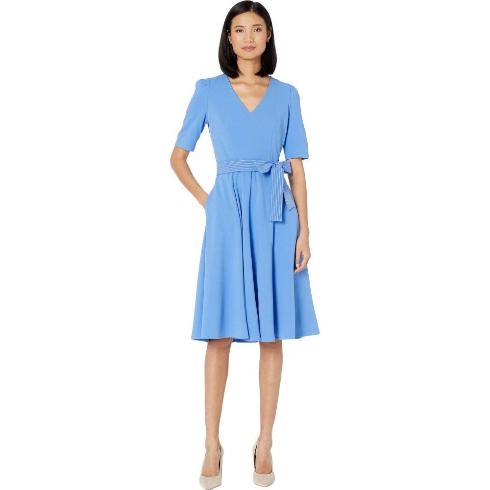 ドナ モルガン Donna Morgan レディース ワンピース ワンピース・ドレス【Short Sleeve High Twist Stretch Crepe Midi Dress】Blue Bonnet