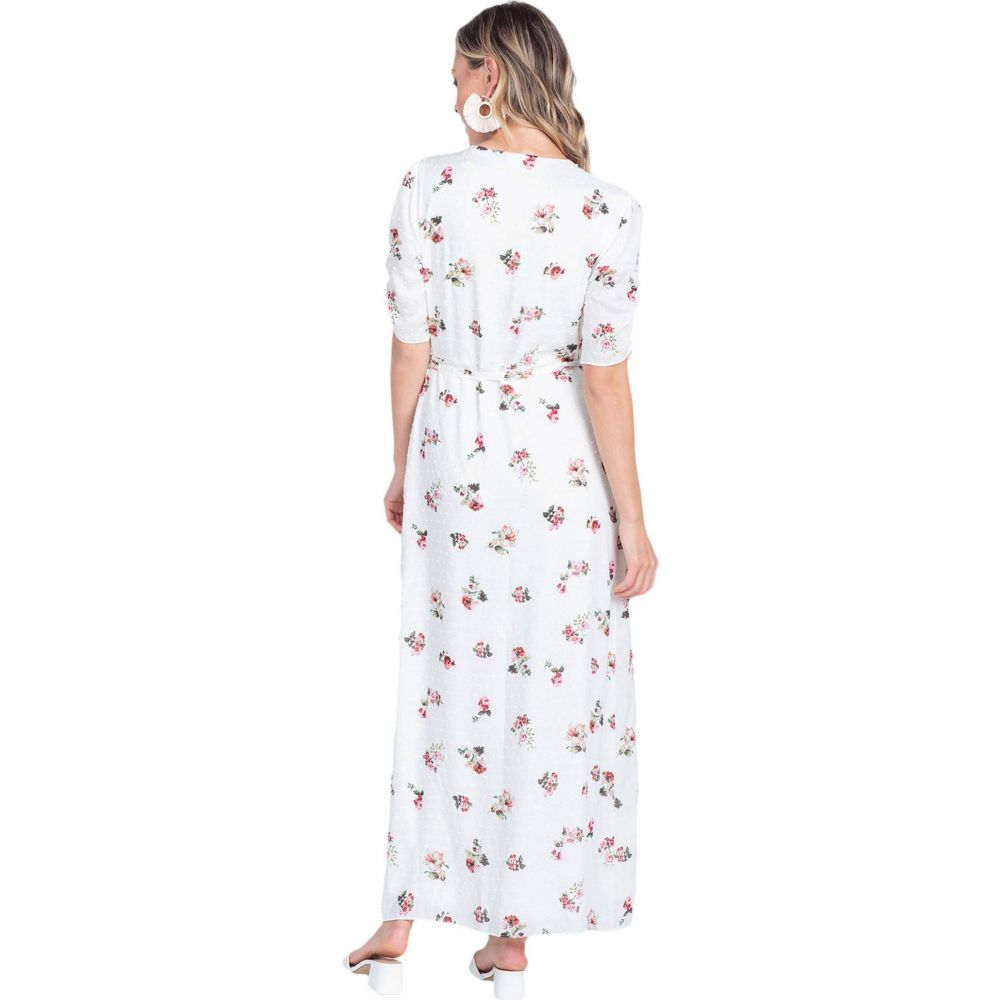 アメリカンローズ American Rose レディース ワンピース ワンピース・ドレス【Olive Short Sleeve Floral Maxi Dress】Ivory