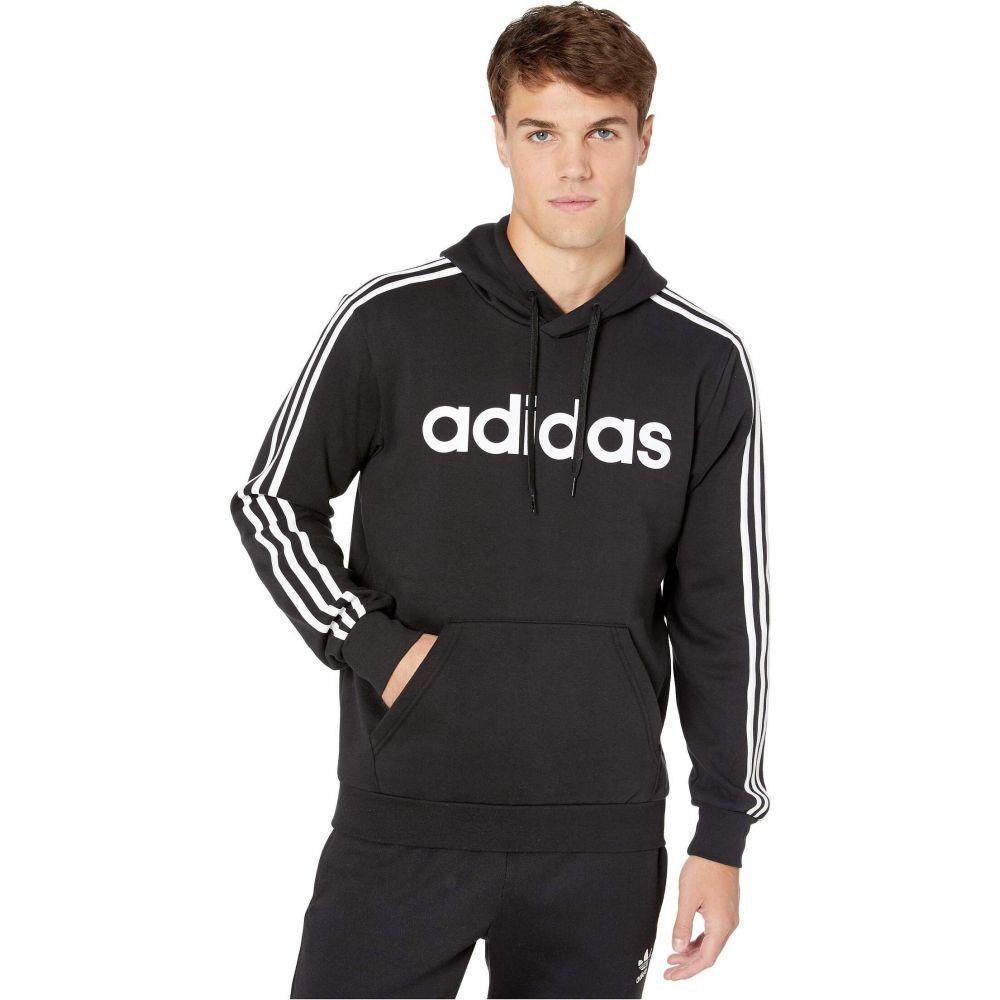 アディダス adidas メンズ パーカー トップス【Essentials 3-Stripe Pullover Linear Hoodie】Black/White