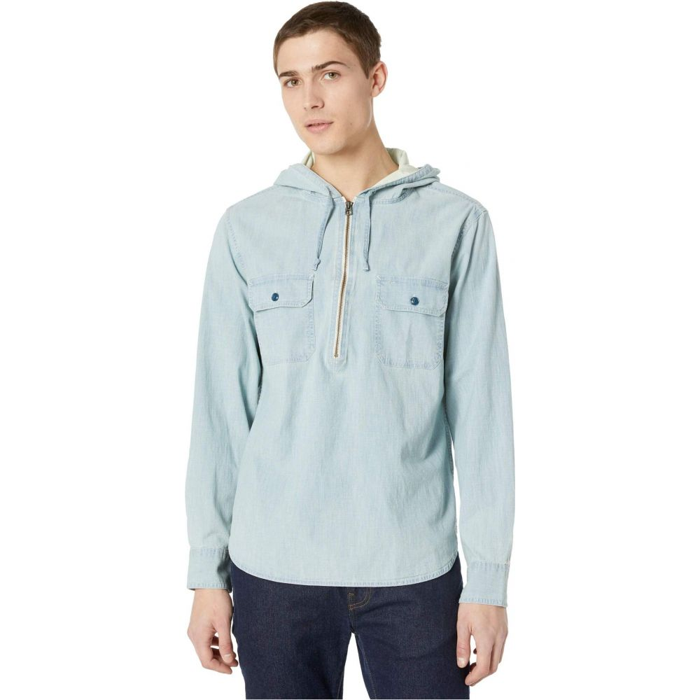 ジェイクルー J.Crew メンズ パーカー ハーフジップ シャンブレーシャツ トップス【Chambray 1/2 Zip Work Shirt with Hood】Core Chambray