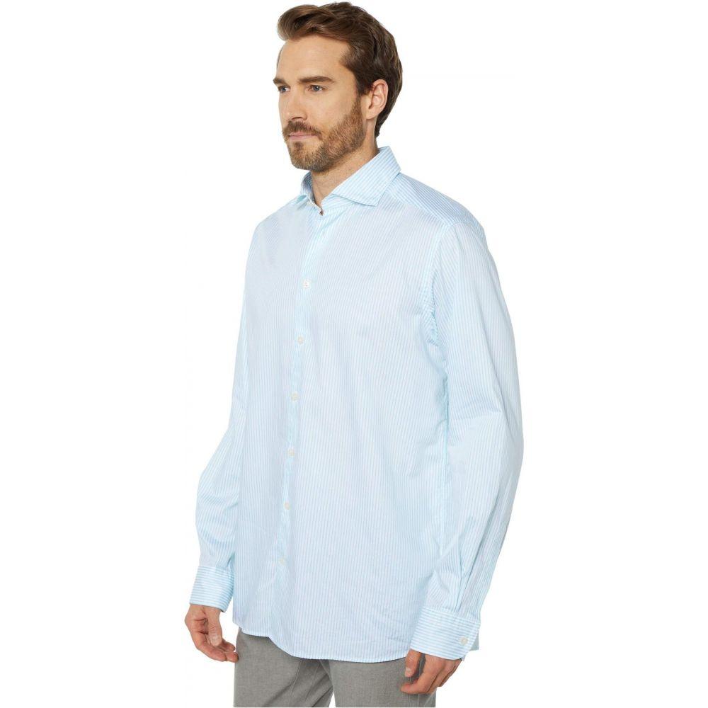 イートン Eton メンズ シャツ トップス【Contemporary Fit Light Stripe Button-Down】Blue
