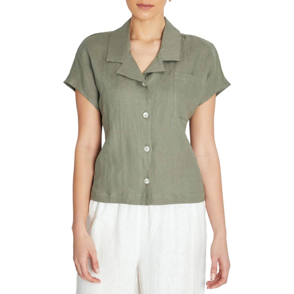 スリードッツ Three Dots レディース ブラウス・シャツ トップス【Linen Short Sleeve Camp Shirt】Fatigue