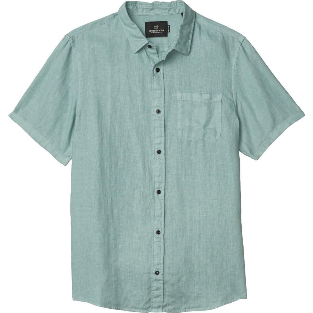 スコッチ&ソーダ Scotch & Soda メンズ 半袖シャツ トップス【Regular Fit - Short Sleeve Garment - Dyed Linen Shirt】Emerald