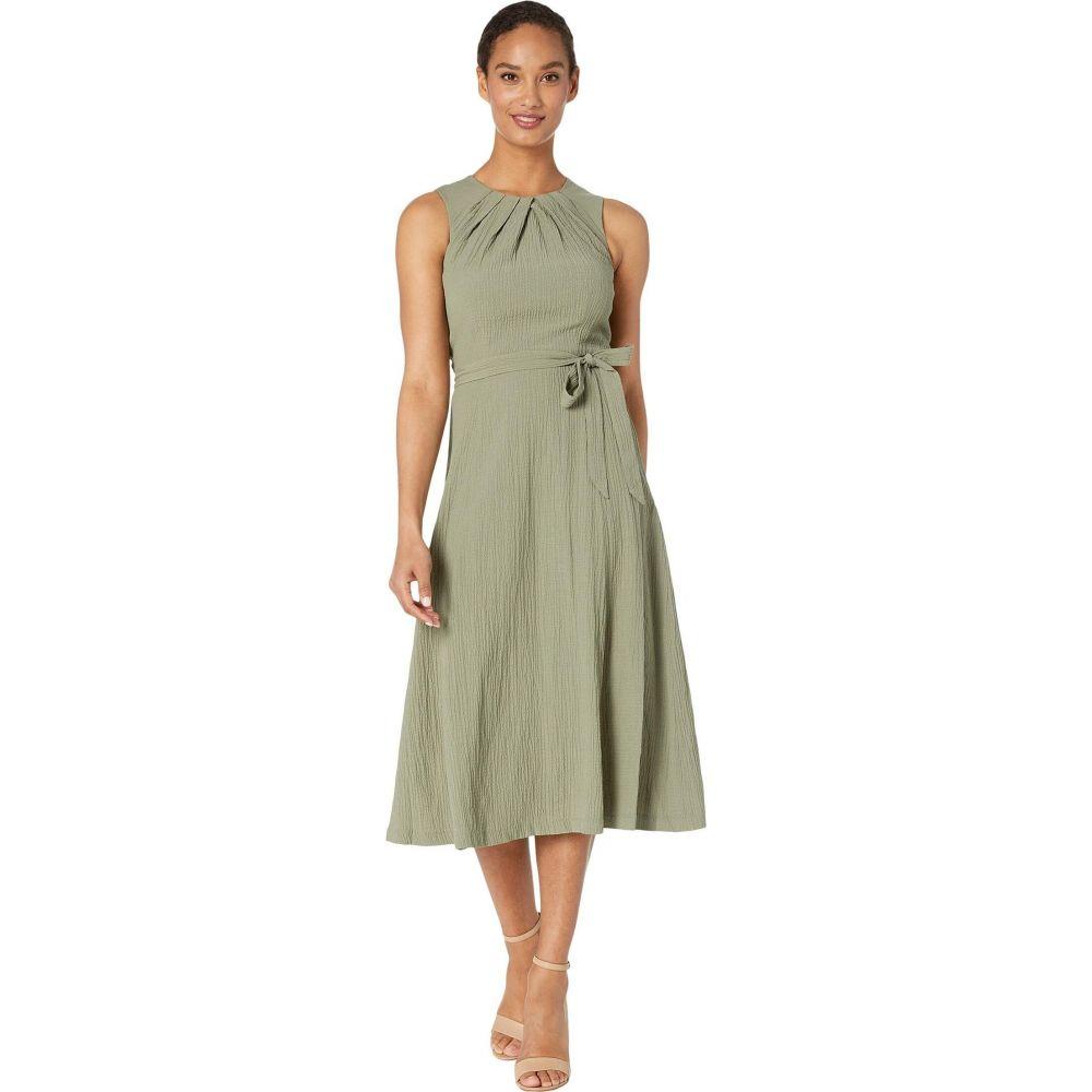 カルバンクライン Calvin Klein レディース ワンピース ミドル丈 ワンピース・ドレス【Belted Midi Dress with Bodice Pleat Detail】Olive