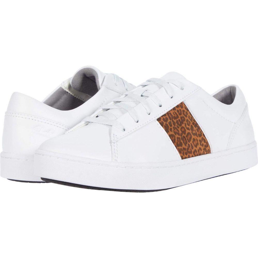 クラークス Clarks レディース スニーカー シューズ・靴【Pawley Rilee】White Leather/Leopard Combi