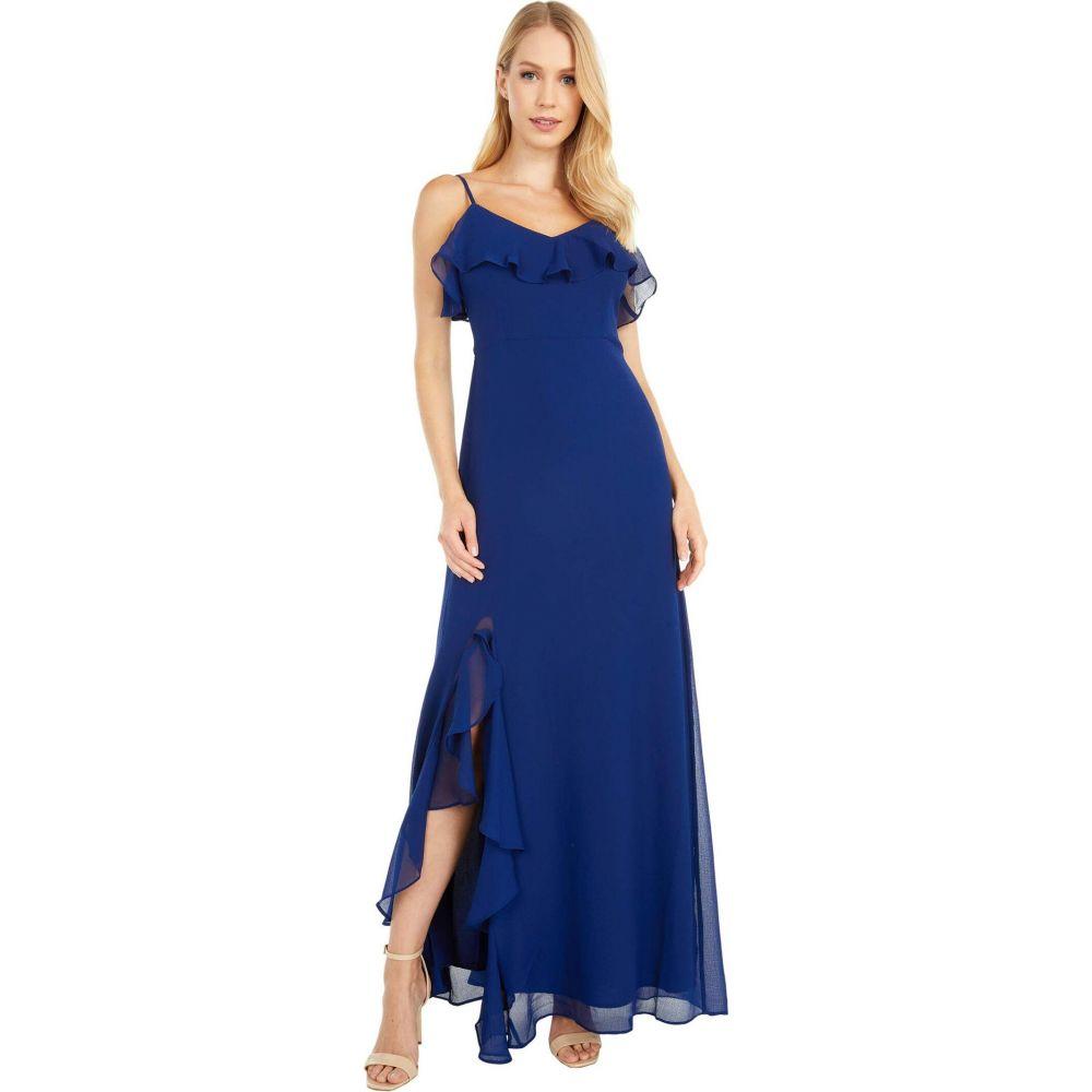 ビービーダコタ BB Dakota レディース ワンピース スリットワンピース ワンピース・ドレス【Final Fancy Textured Chiffon Maxi w/ Ruffle Slit Dress】Vintage Blue