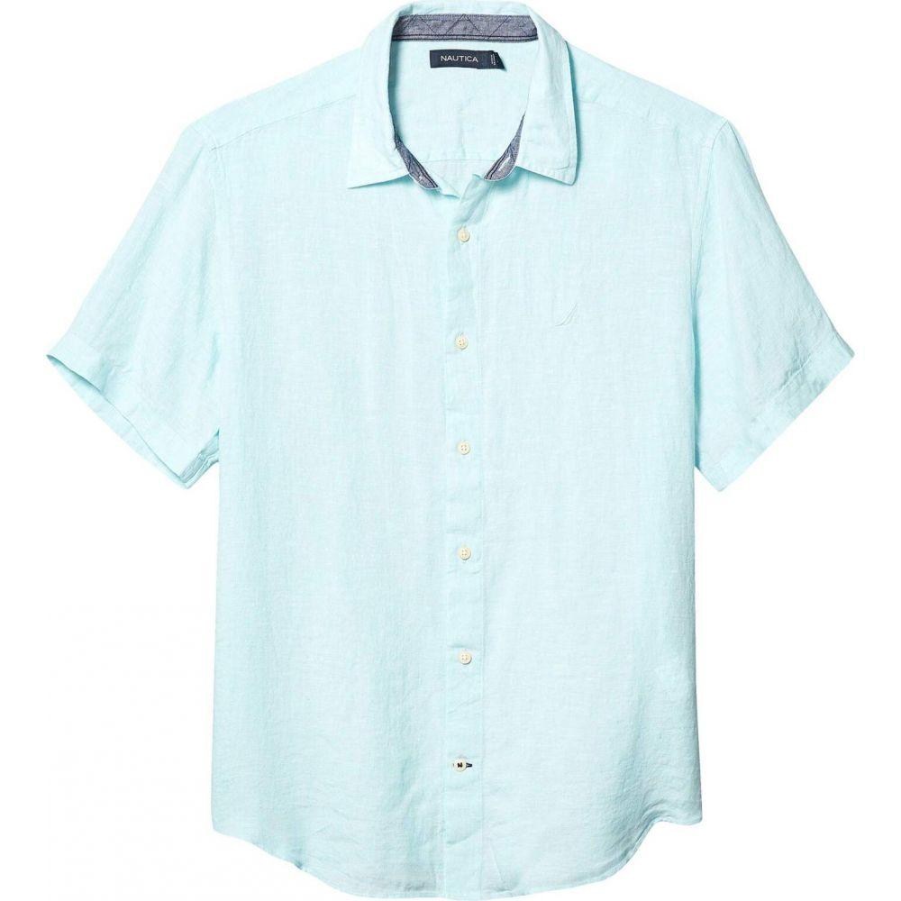 ノーティカ Nautica メンズ 半袖シャツ トップス【Short Sleeve Solid Linen Shirt】Blue