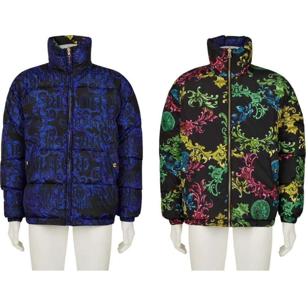 ヴェルサーチ Versace Jeans Couture メンズ ダウン・中綿ジャケット アウター【Baroque Print Reversible Puffer】Blue/Black
