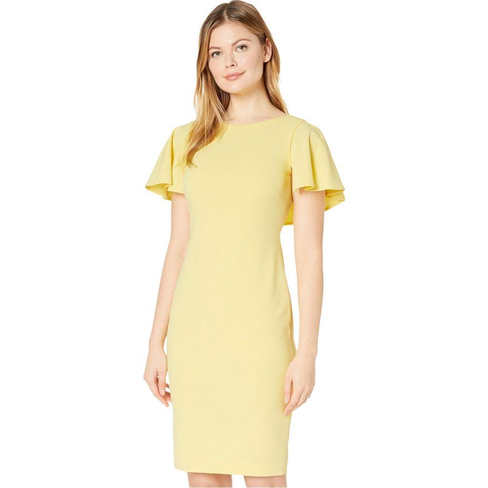 カルバンクライン Calvin Klein レディース ワンピース ワンピース・ドレス【Flutter Sleeve Sheath Dress】Popcorn