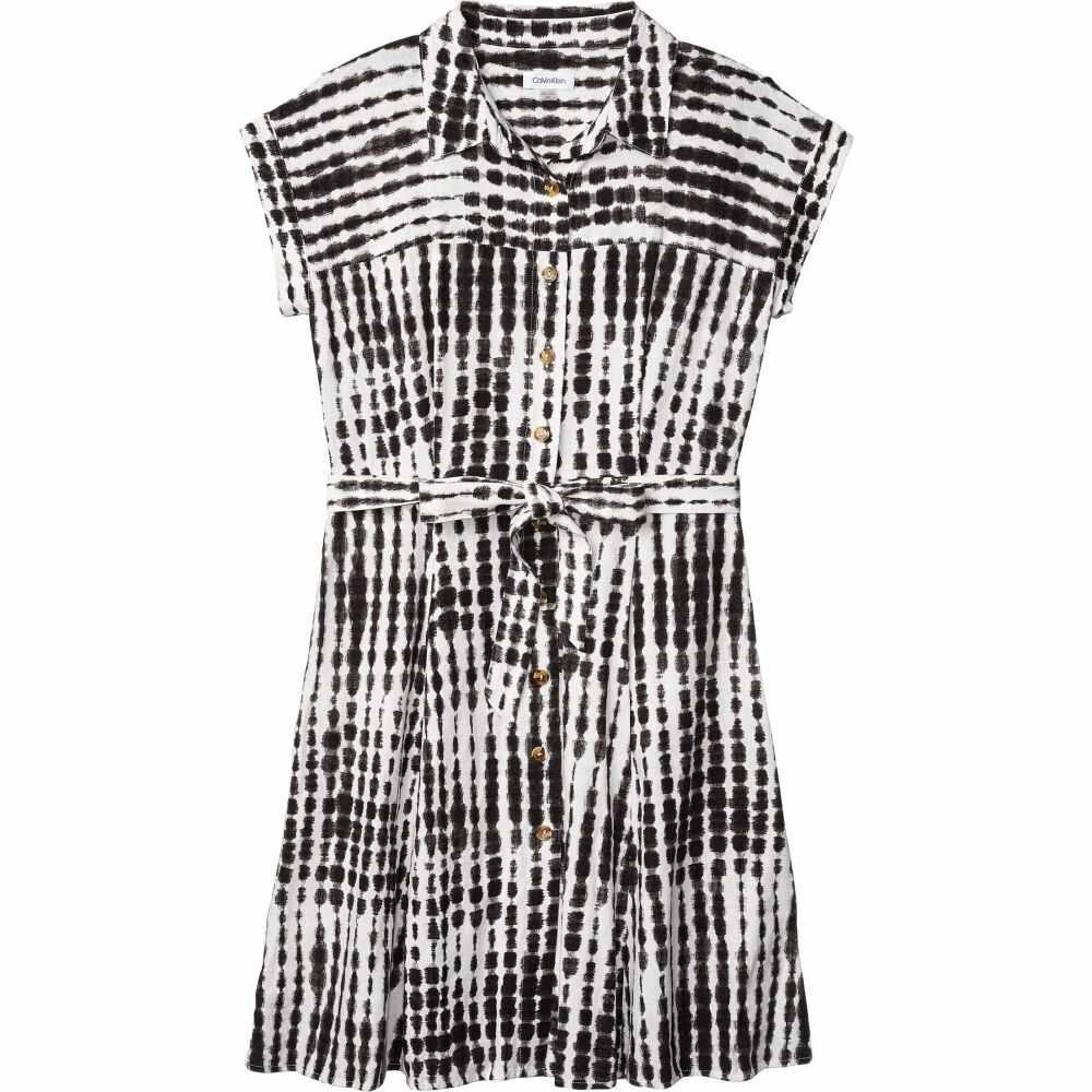 カルバンクライン Calvin Klein レディース ワンピース シャツワンピース ワンピース・ドレス【Printed Linen Short Sleeve Shirtdress with Belt】Black Multi