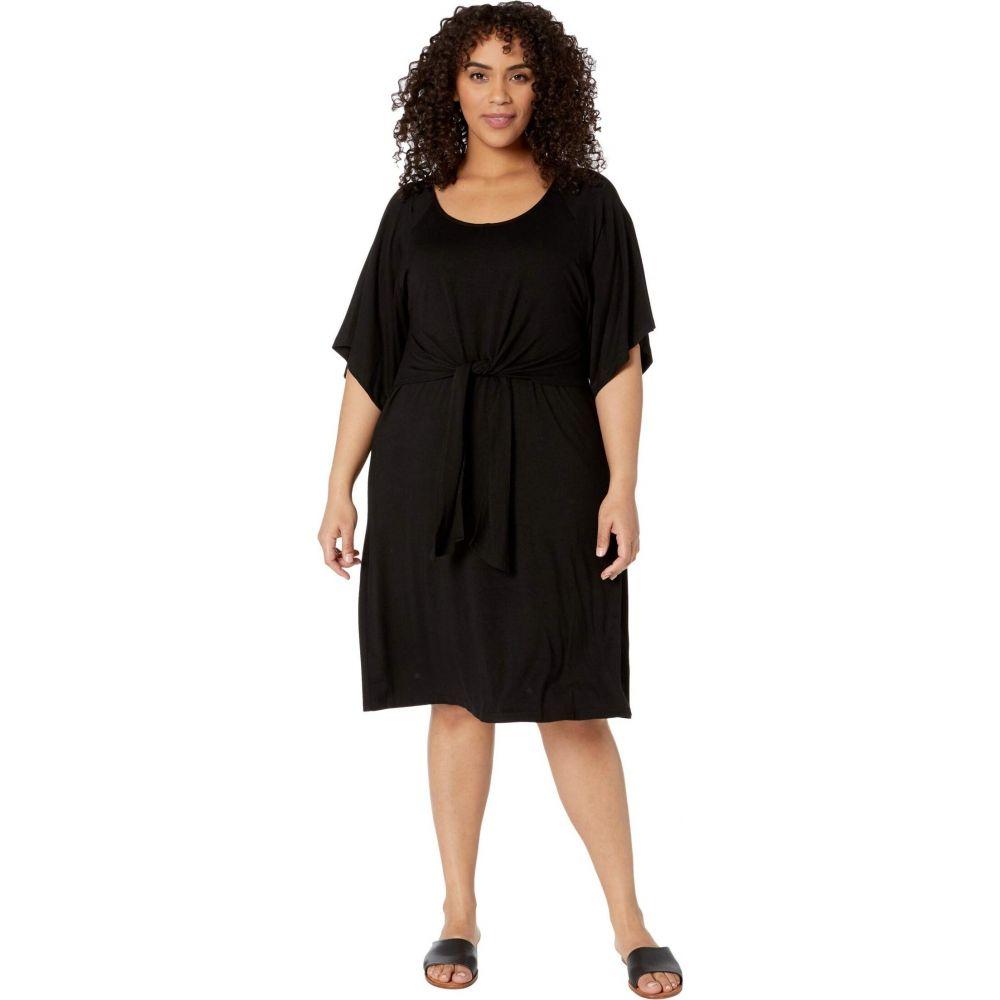 カレンケーン Karen Kane Plus レディース ワンピース 大きいサイズ ワンピース・ドレス【Plus Size Tie-Front A-Line Dress】Black