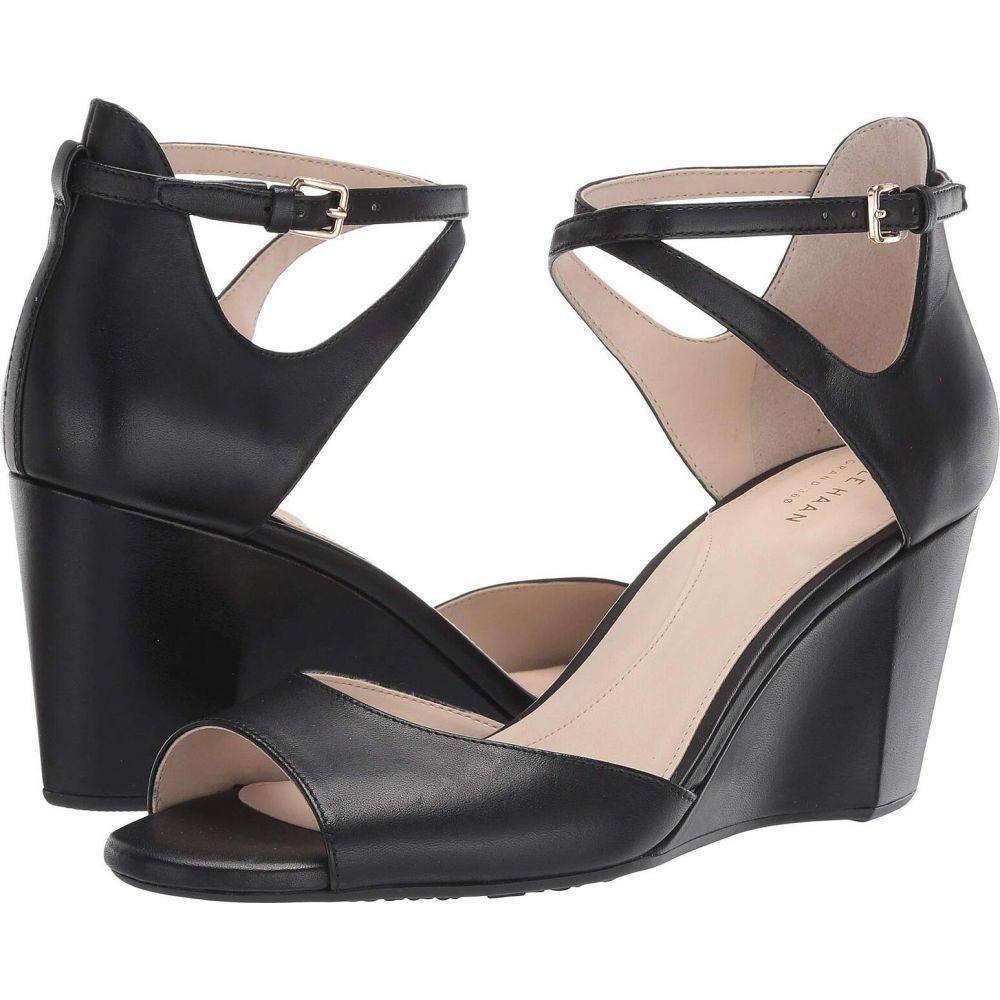 Sadie ウェッジソール mm コールハーン サンダル・ミュール Toe Haan Wedge Cole Leather Grand シューズ・靴【75 Sandal】Black レディース オープントゥ Open