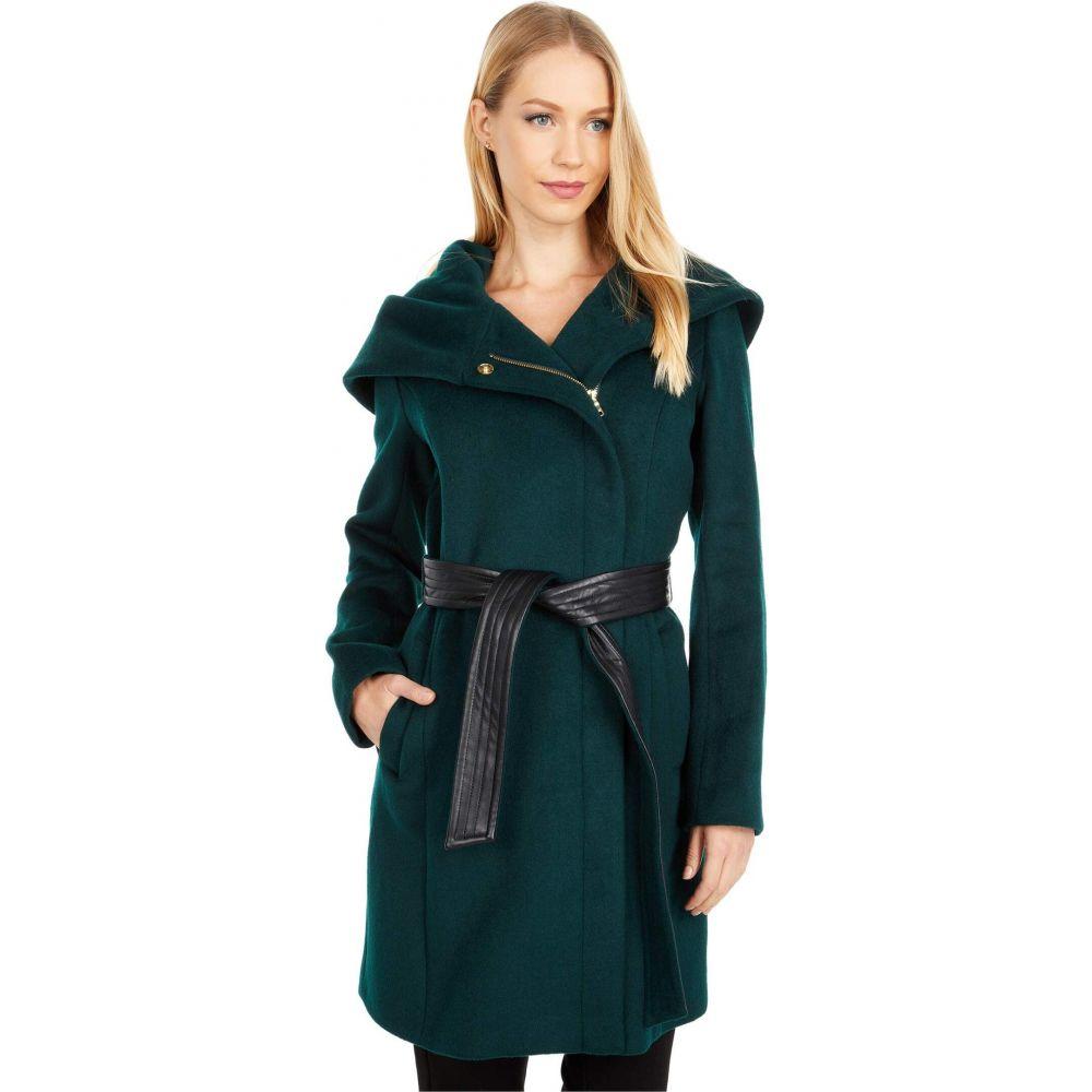 【新品】 コールハーン Cole Haan レディース コート アウター【Slick Wool Belted Jacket with Oversized Hood】Petroleum, 御杖村 2a7b976c