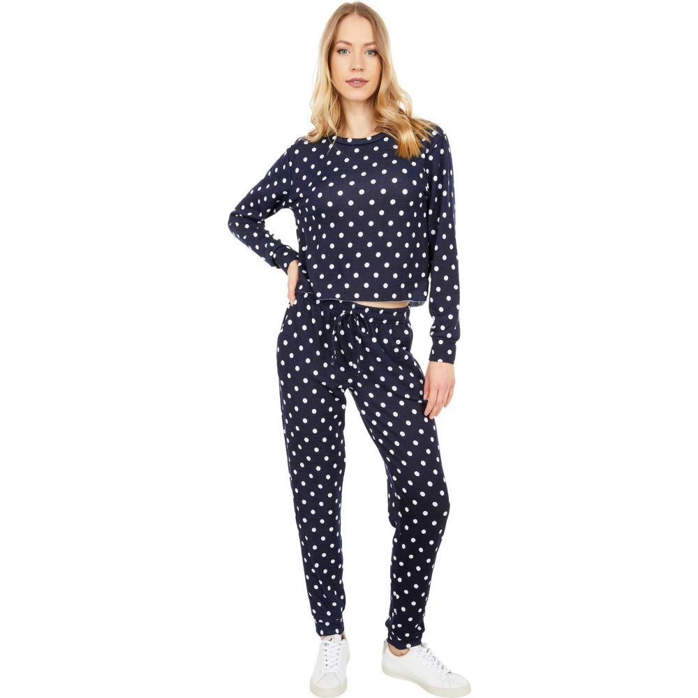 ワイエム レディース トップス フリース 限定タイムセール Navy Polka Dot Fleece Two-Piece 高品質 YMI Set Pants Pullover サイズ交換無料