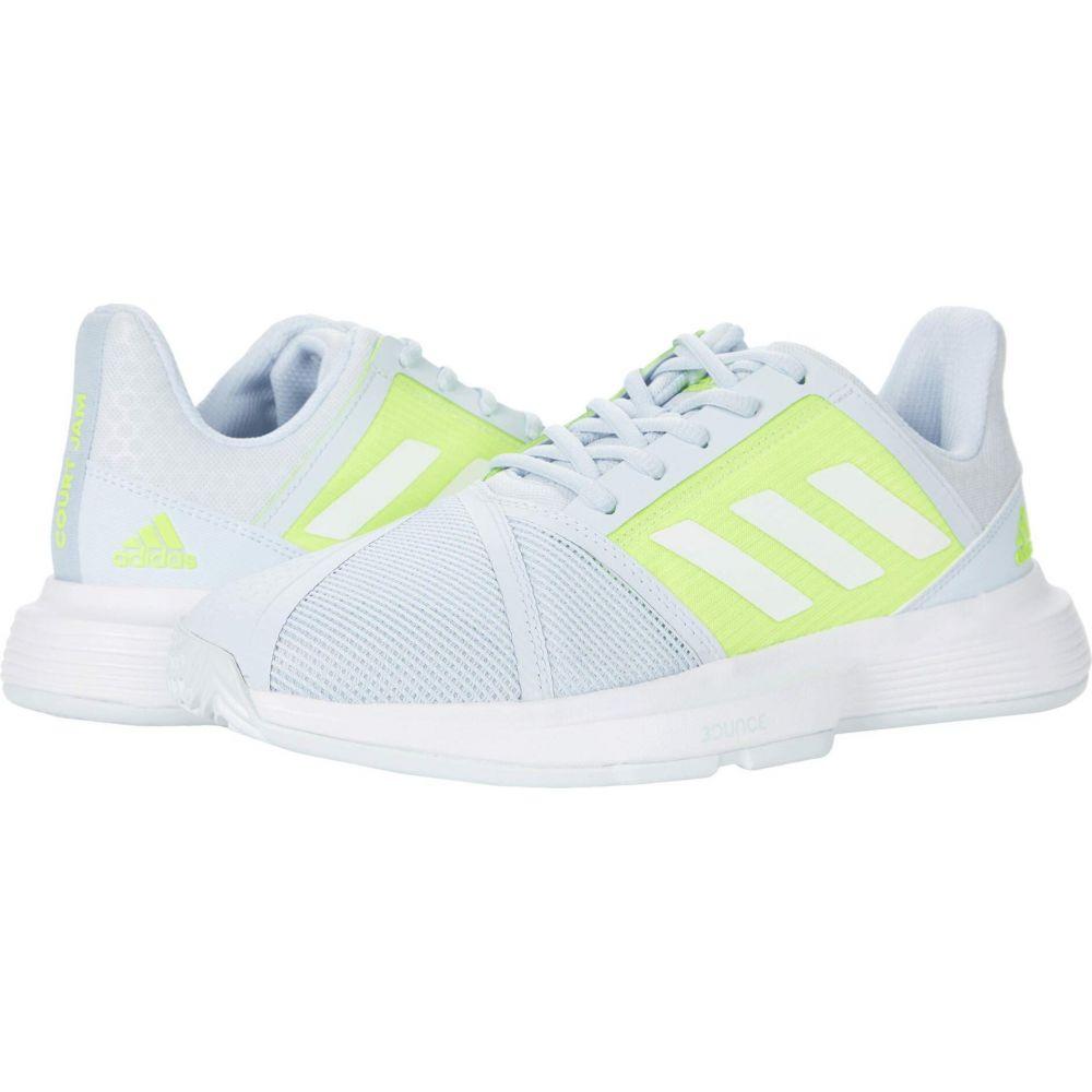 アディダス レディース テニス シューズ 靴 Halo Blue White Solar Yellow CourtJam 品質検査済 訳あり商品 Bounce サイズ交換無料 adidas