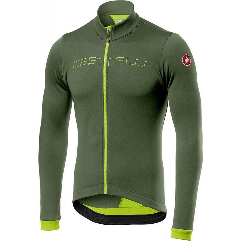 <title>カステリ メンズ 自転車 トップス MilitiaryGreen YellowFluo ギフト サイズ交換無料 Castelli fondo full-zip bike jersey</title>