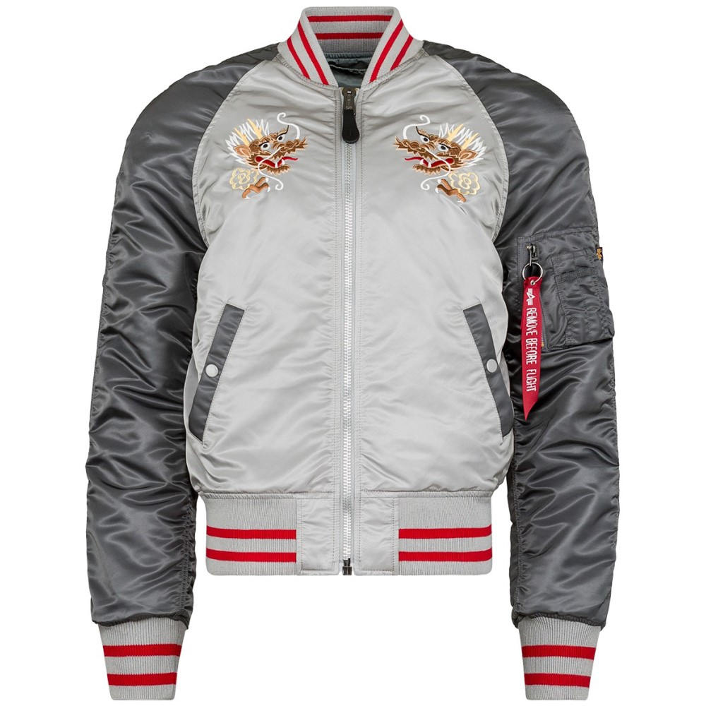アルファ インダストリーズ メンズ アウター ブルゾン【MA-1 Souvenir Double Dragon Jacket】New Silver/ Silver Blue