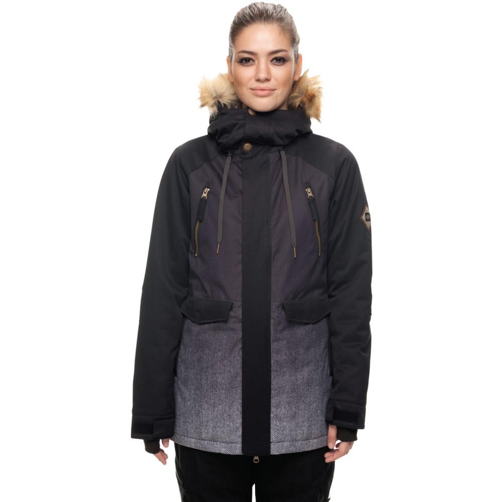 シックス エイト シックス レディース スキー・スノーボード アウター【Ceremony Insulated Snowboard Jacket 2018】Black Herringbone Fade