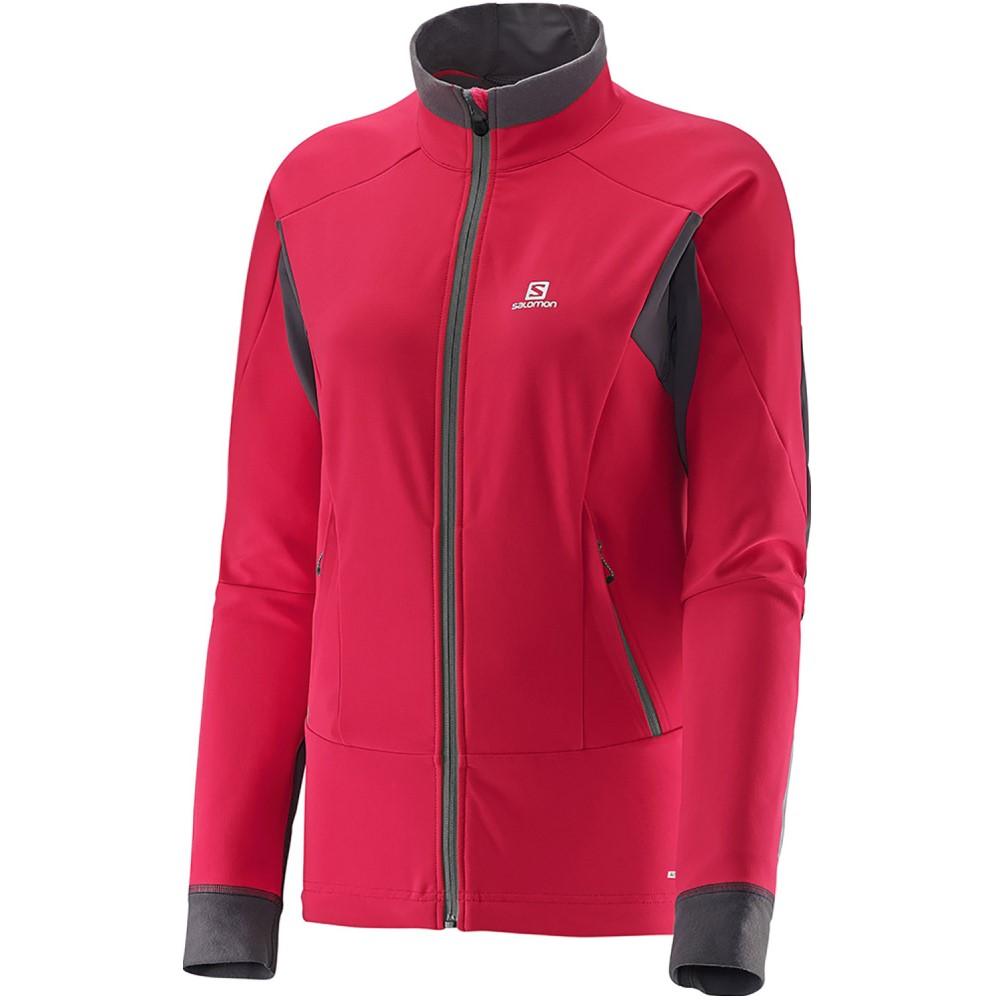 サロモン レディース スキー・スノーボード アウター【Momemtum Softshell XC Ski Jacket】Lotus Pink/ Galet Grey
