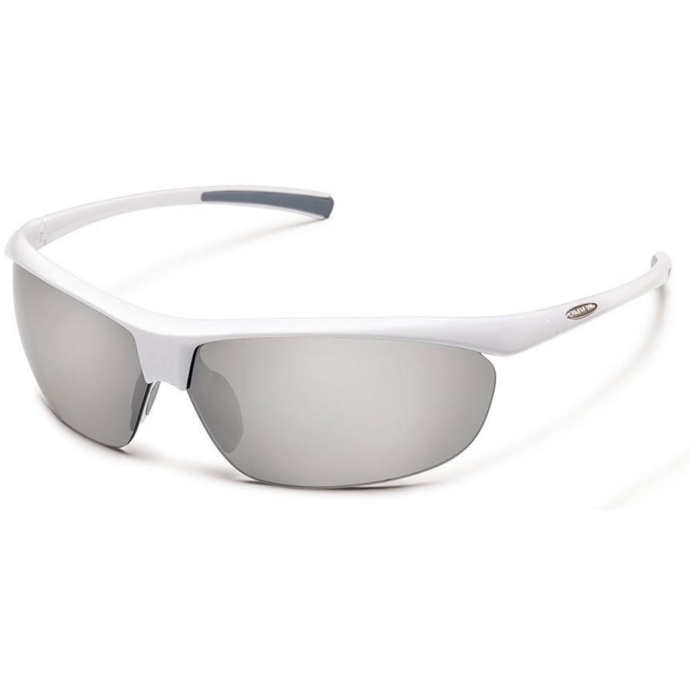 サンクラウド メンズ スポーツサングラス【Zephyr Sunglasses】White/ Silver Mirror Polarized Polycarbonate Lens