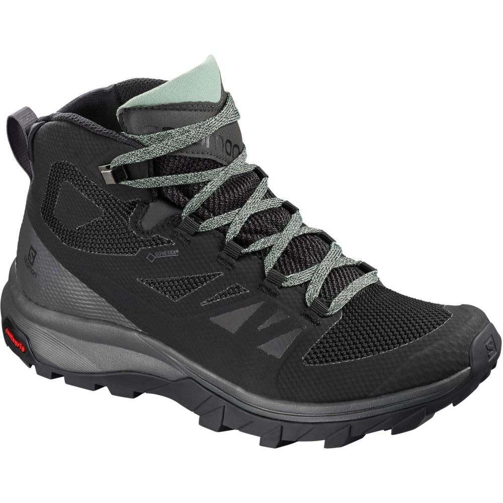 サロモン Salomon レディース ハイキング・登山 シューズ・靴【Outline Mid GTX Hiking Shoes】Black/Magnet/Green Milieu