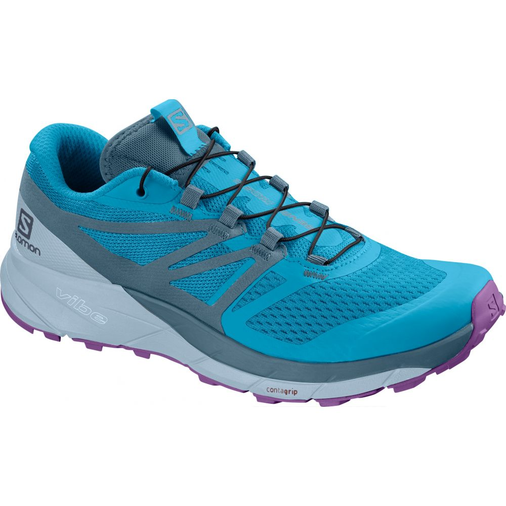 サロモン Salomon レディース ランニング・ウォーキング シューズ・靴【Sense Ride 2 Trail Running Shoes】Cyan Blue/Mallard Blue/Cashmere Blue