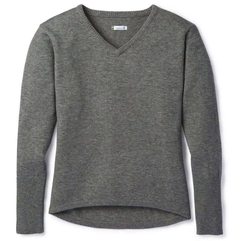 スマートウール Smartwool レディース ニット・セーター Vネック トップス【Shadow Pine V-Neck Sweater】Medium Grey Donegal