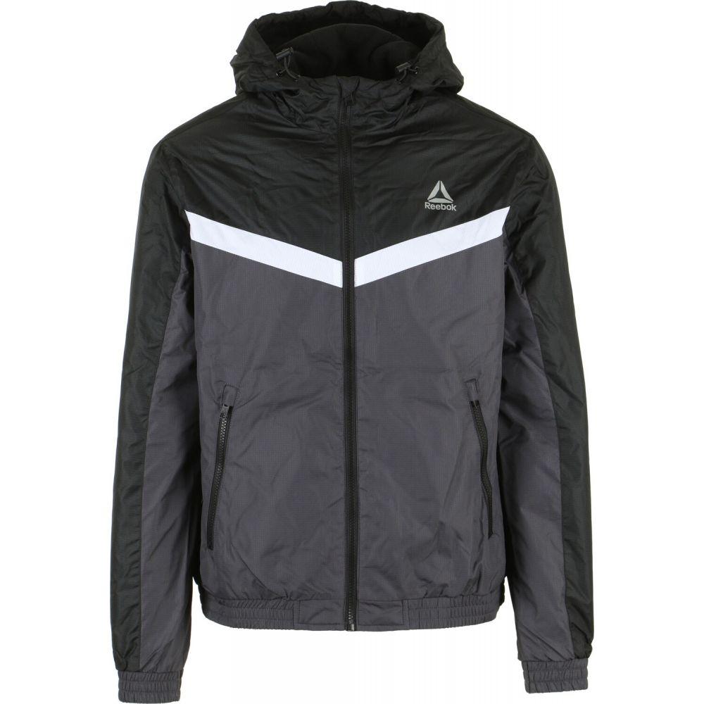 リーボック Reebok メンズ ジャケット ウィンドブレーカー アウター【Striped Fleece Lined Windbreaker Jacket】Black/Charcoal