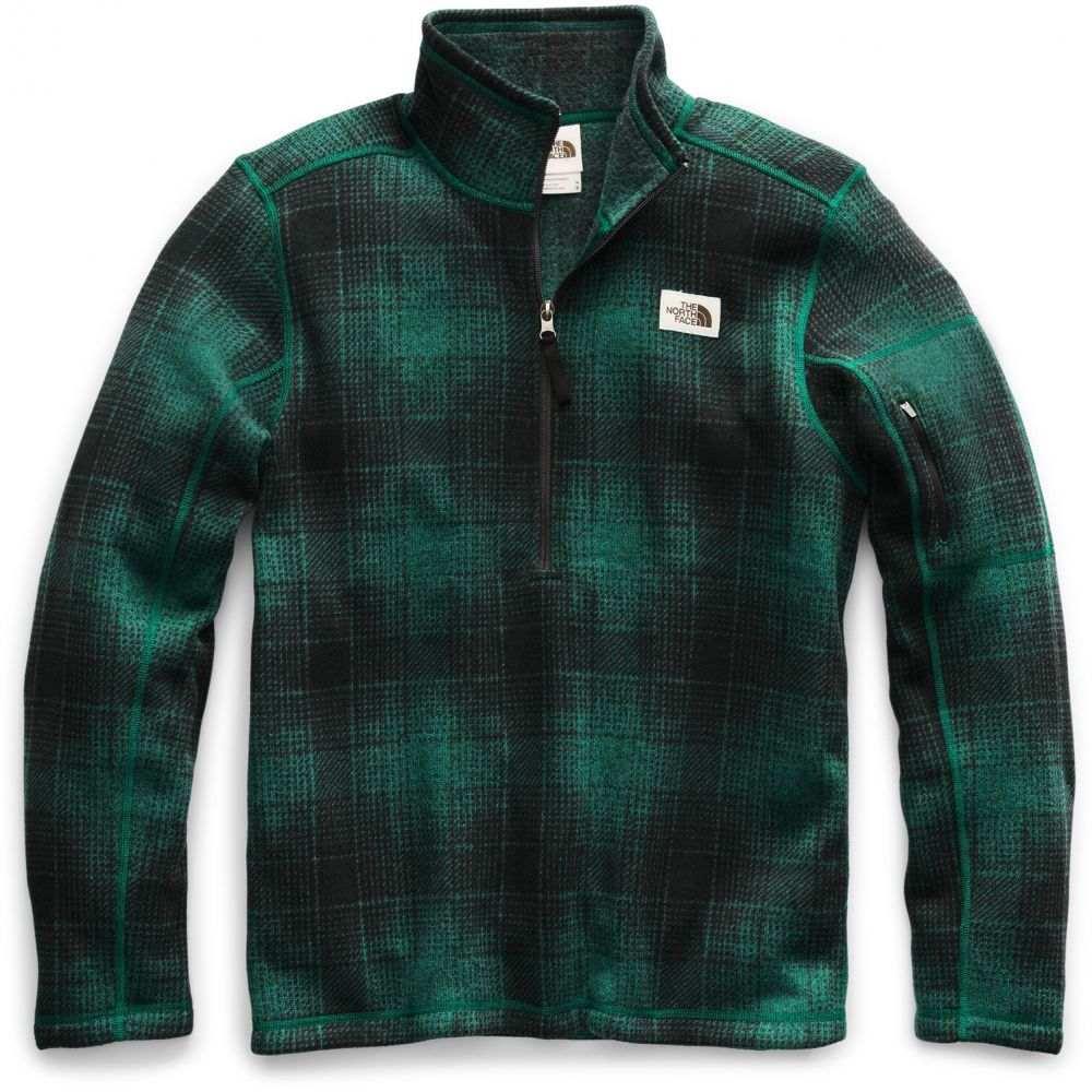 ザ ノースフェイス The North Face メンズ フリース トップス【Gordon Lyons Novelty 1/4 Zip Fleece】Night Green Ombre Plaid Small Print