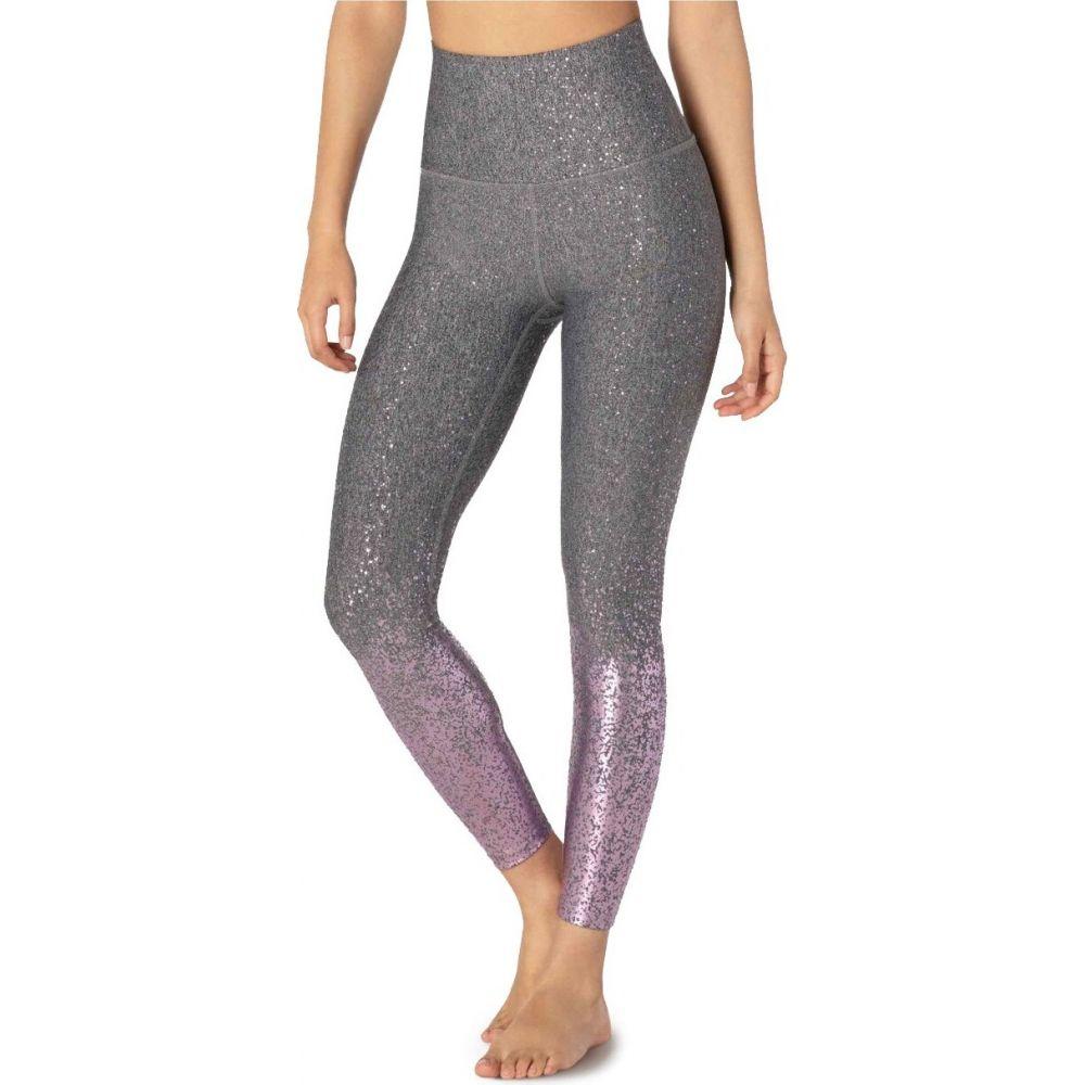 ビヨンドヨガ Beyond Yoga レディース フィットネス・トレーニング スパッツ・レギンス ボトムス・パンツ【Alloy Ombre High-Waisted Midi Leggings】Black-White Shiny Mauve Speckle
