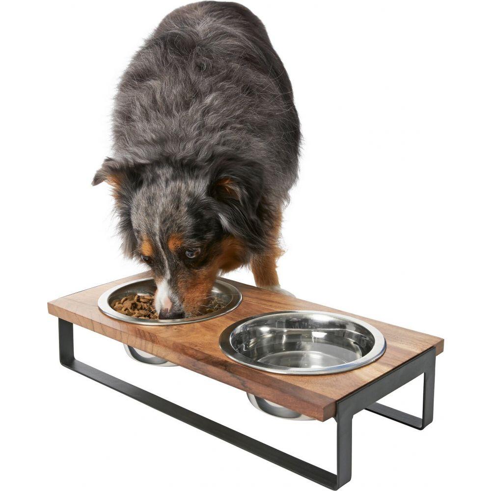 フリスコ ※ラッピング ※ 再入荷 予約販売 Frisco ペットグッズ 犬用品 食器 フードボウル Wooden Double Bowl Black Bars Diner Dog Cat