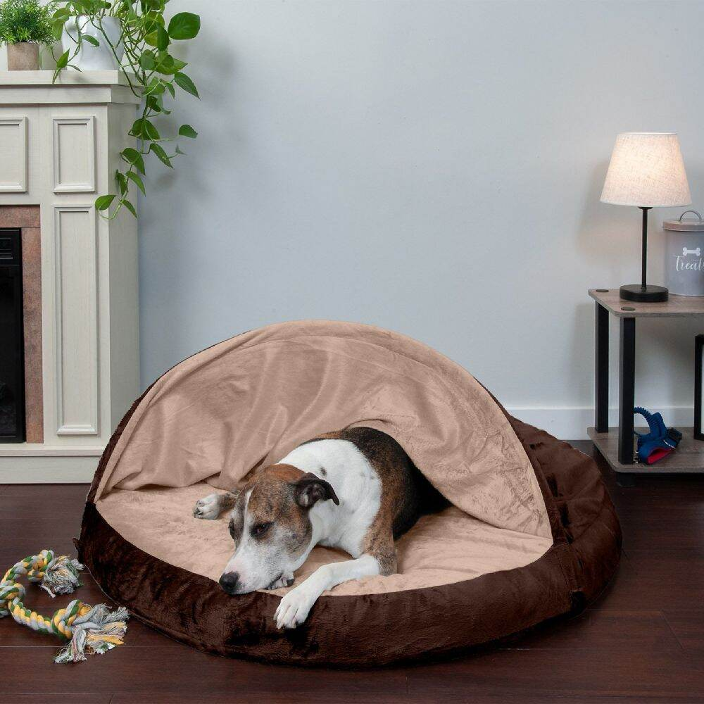 FurHaven ファーヘイヴン ペットグッズ 犬用品 ベッド・マット・カバー ベッド【Microvelvet Snuggery Gel Top Covered Cat & Dog Bed w/Removable Cover】Espresso
