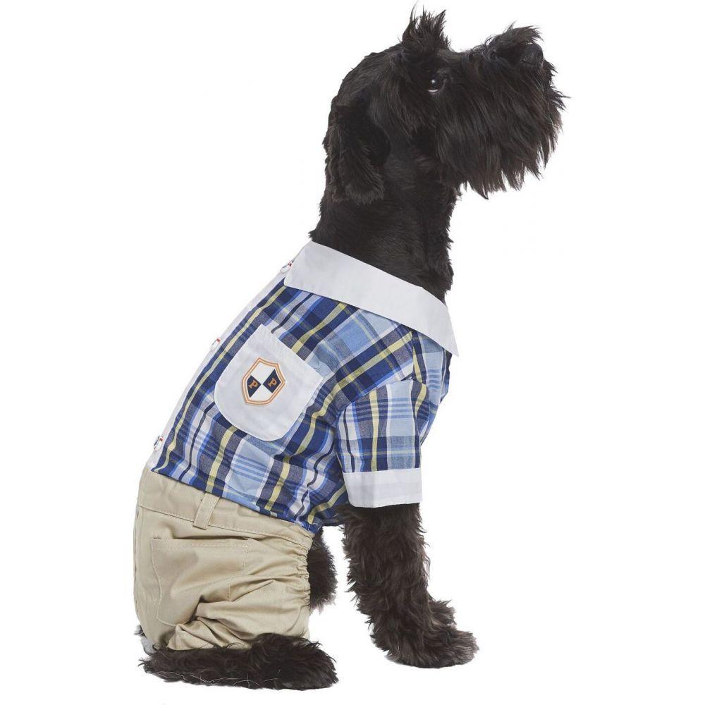 Parisian Pet パリジャンペット ペットグッズ 犬用品 ウェア 【Plaid Royal Dog Jumpsuit】Blue:フェルマート
