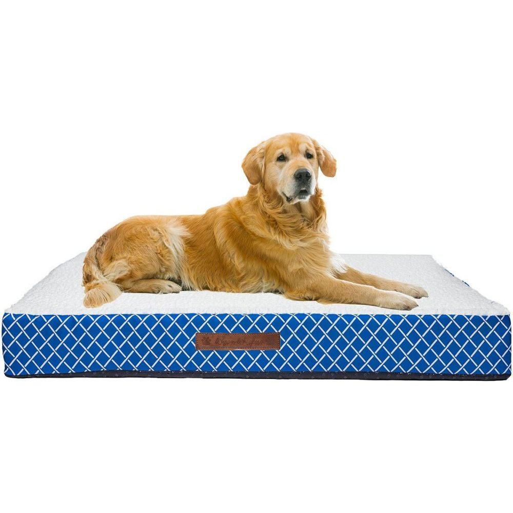 Wags n Whiskers ワグス ウィスカー ペットグッズ 犬用品 ベッド・マット・カバー ベッド【Atkins Lattice Large Orthopedic Pet Bed】Blue