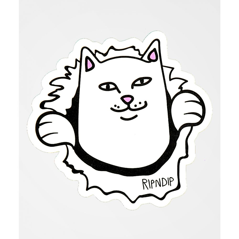 リップンディップ メンズ 財布 時計 雑貨 ステッカー サイズ交換無料 Sticker 誕生日/お祝い 新作多数 White RIPNDIP Nermaniac