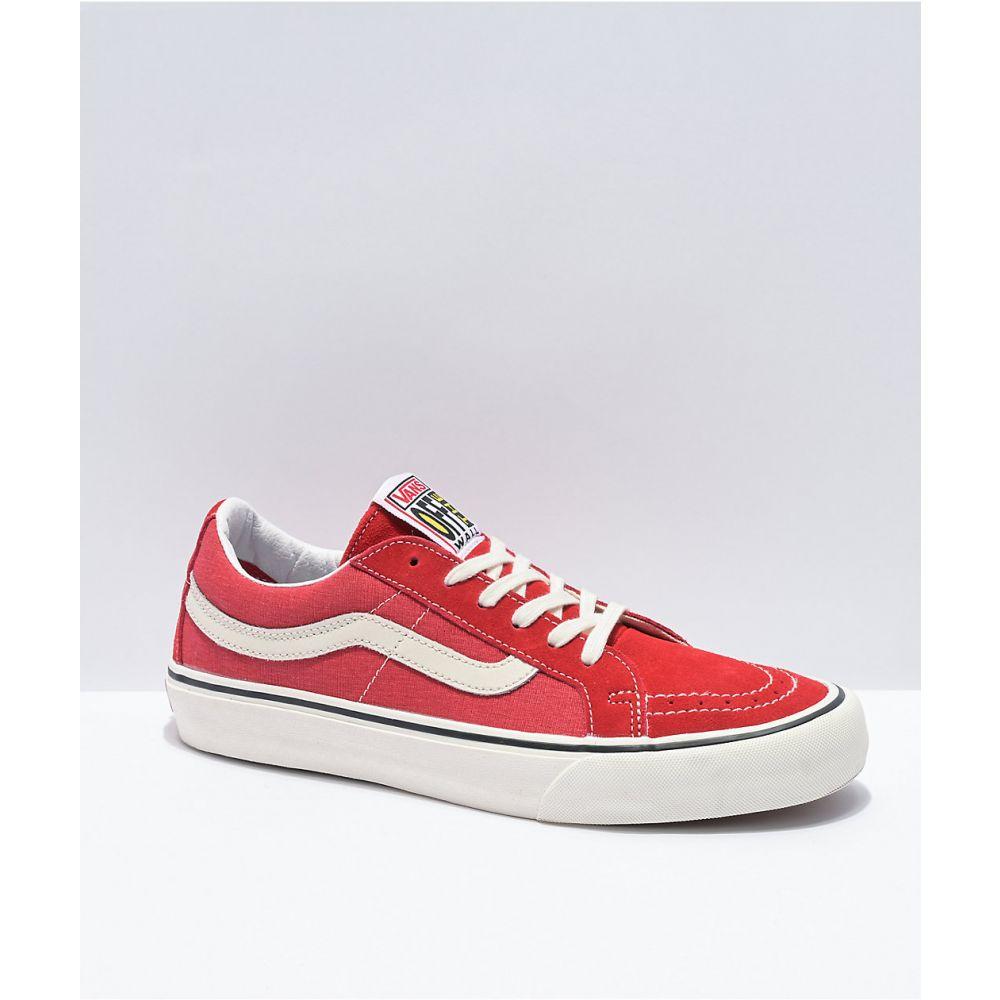 ヴァンズ VANS レディース スケートボード シューズ・靴【Vans Sk8-Low SF Reissue Washed Red Skate Shoes】Red