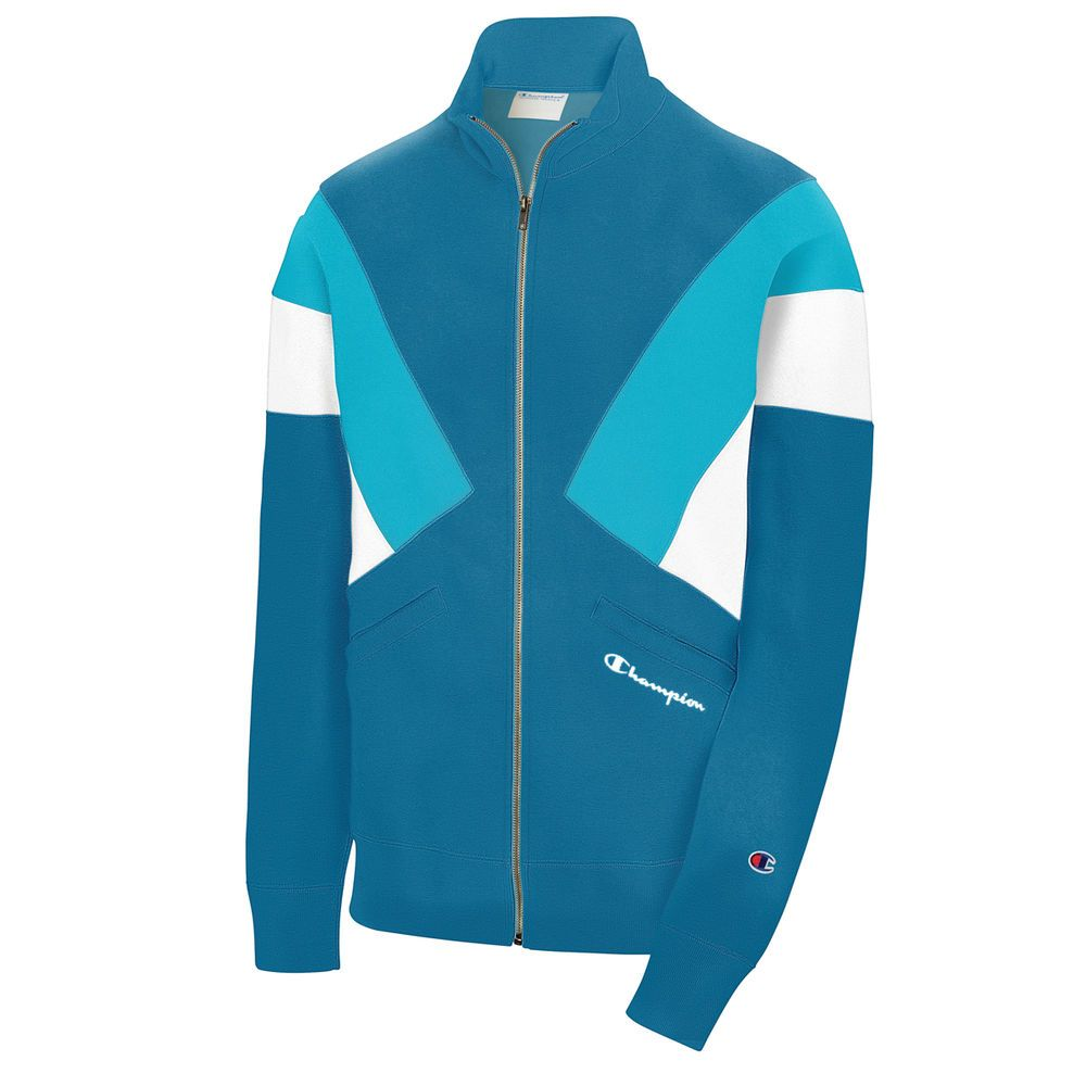 チャンピオン Champion メンズ アウター ジャージ【C Life Reverse Weave Colorblock Track Jacket】Blue