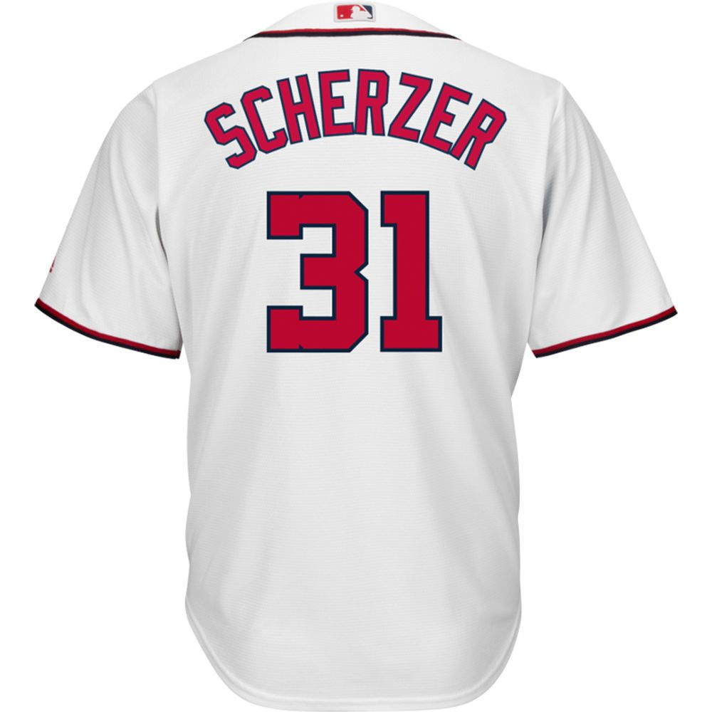 マジェスティック Majestic メンズ トップス【Washington Nationals Adult Max Scherzer Cool Base Home Jersey】White