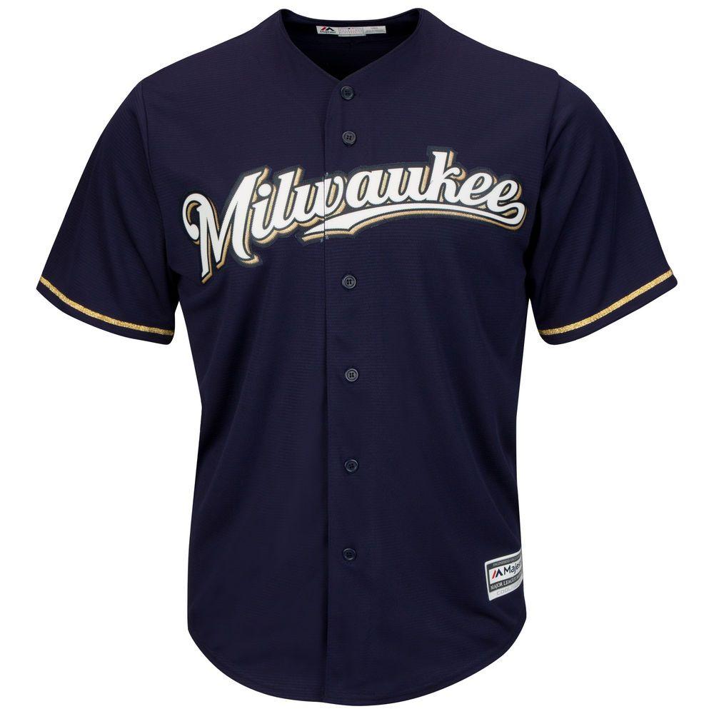 マジェスティック Majestic メンズ トップス【Milwaukee Brewers Adult Cool Base Replica Jersey 3XL, 4XL】Navy