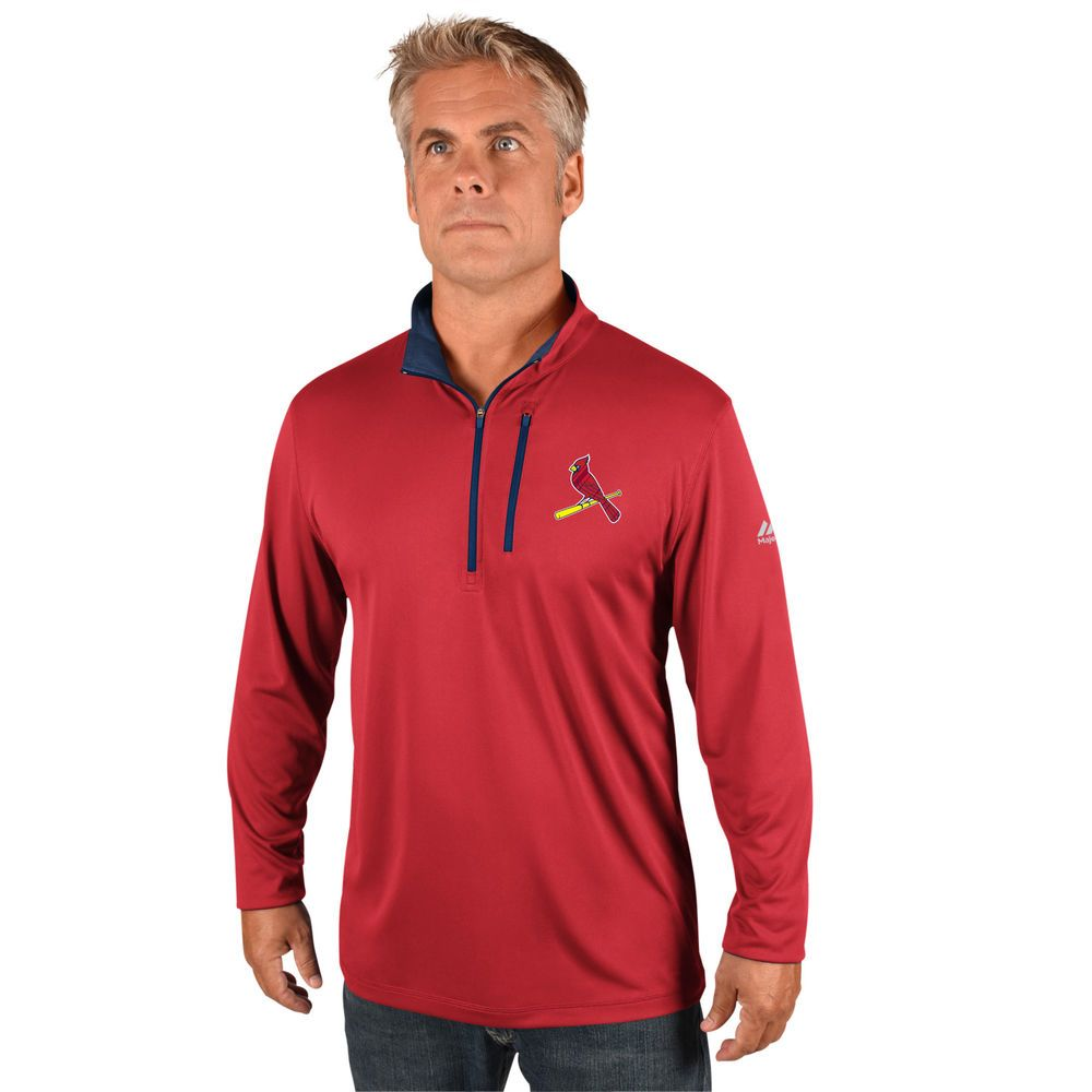 マジェスティック Majestic メンズ トップス【St. Louis Cardinals Big Quarter Zip Jersey Pullover (Big & Tall)】Red