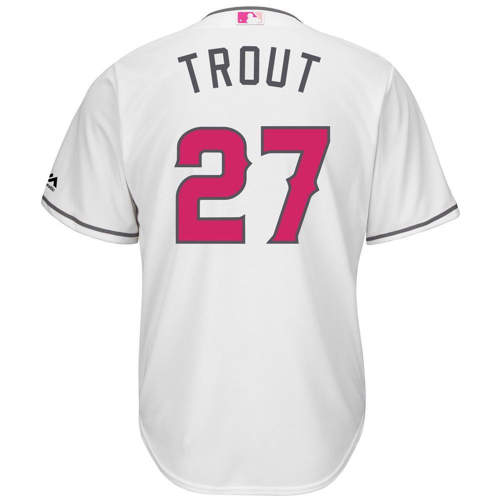 マジェスティック Majestic メンズ トップス【Los Angeles Angels of Anaheim Big Mike Trout Cool Base Replica Jersey (Big & Tall)】White